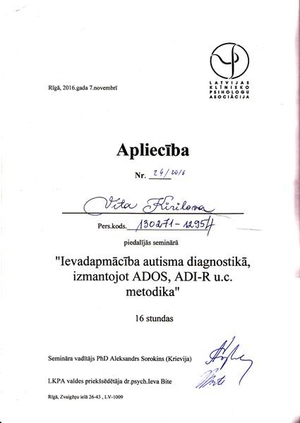 последипломное образование Психолог Вита kирилова